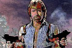 """Chuck Norris. Pintura digital con toques de acrílico y """"mod podge"""". 2005. Luis Cebrián. 60x40cm. Impreso sobre canvas. Dicen que Chuck es el único sujeto que ha conseguido contar hasta el infinito... ¡¡Dos veces!!. Y que si te vuelves y de repente le ves la cara, significa que te quedan dos segundos de vida."""