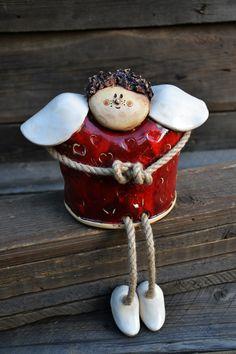 Clay Ornaments, Felt Christmas Ornaments, Christmas Deco, Christmas Angels, Pottery Angels, Clay Angel, Pottery Place, Pottery Handbuilding, Ceramic Angels