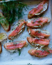 Smoked Salmon Toasts with Mustard Butter
