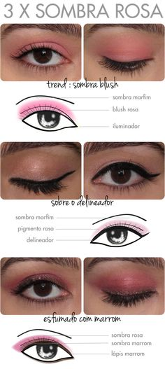 tutorial-maquiagem-sombra-rosa-tendencia-pink-eyeshadow-trend-tutorial-maquiagem-2013-verao-pigmento-lapis-esfumado-delineador-blush-olho