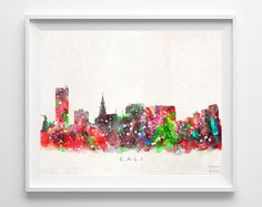 Cali Skyline Print Colombia Print Cali Poster by InkistPrints