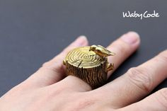 Bird On Wood Ring by wabycode on Etsy, $22.00