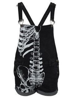 With a large white ribcage printed on one half, these seriously cool dungarees from Iron Fist are guaranteed to make a powerful fashion statement. Punk Outfits, Grunge Outfits, Cool Outfits, Fashion Outfits, Punk Fashion, Gothic Fashion, Pants For Women, Iron Fist, My Style