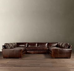 RHu0027s Preconfigured Maxwell Leather U Sofa Sectional:Maxwellu0027s Streamlined  Design Features A Low Back And Wide, Squared Off Seat And Back Cushions.