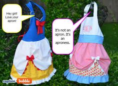 Just an inspiration pic of Disney aprons for the girls to play dress up Disney Princess Aprons, Disney Aprons, Sewing For Kids, Baby Sewing, Diy For Kids, Dress Up Aprons, Cute Aprons, Sewing Hacks, Sewing Crafts