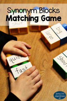Practice identifying synonym words with this Synonym Blocks Matching Game. It can be used as an independent activity or children can work with a partner. Synonym Activities, Speech Activities, English Activities, Learning Activities, Spelling Activities, Teaching Vocabulary, Teaching Grammar, Vocabulary Activities, Language Activities