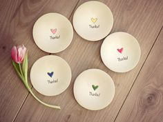 Excited to share the latest addition to my shop: Custom Bridesmaid Thanks Ceramic Ring Dish, Hand Painted Wedding Gift, Set of 5 Love Pottery Plate, Red Heart Bridal Pottery, Jewelry Dish Ceramic Clay, Ceramic Plates, Pottery Plates, Ceramic Pottery, Art Clay, Clay Christmas Decorations, Jewelry Dish, Jewelry Storage, Heart Jewelry