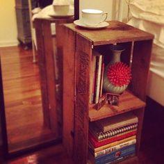 Fruit Crate Bed Side Table, Anthropologie Vase, Tea Cup Candle Holder