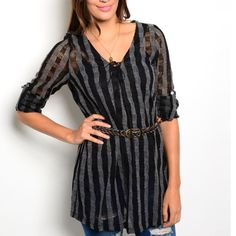 """BLACK & CHARCOAL WOVEN TOP W BELT! Quite possibly my favorite top. Woven top features a tie-able closure, v neckline, adjustable sleeve length and comes w a braided belt!  82% poly 14% cotton 4% rayon. Small measures L 29"""" B 18"""" W 17"""".  Small - 2 Medium - 2 Large - 0 Comment size needed below and I will make a listing just for you. If you were interested in a bundle please allow me to make one for you instead of using the automated feature NO PAYPAL NO TRADES Price firm unless bundled. Tops"""