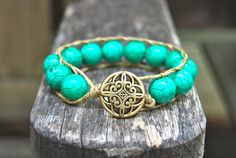 Turquoise Howlite Wrapped Hemp Bracelet with Gold Button - Boho, Beach, Stackable. $39.00, via Etsy.