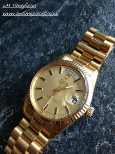 GENTS ROLEX TUDOR DAY DATE OYSTER 7019/1 AUTOMATIC SOLID GOLD BEZEL / CROWN