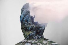 Matt Wisniewski is a New York City based photographer and artist. He creates photographic collages made from portraits mixed with landscapes or different objects and views. The different images merge seamlessly and convey a surreal, almost eerie atmosphere. Cliffs, clouds, and architecture form a perfect symbiosis with the human silhouette.