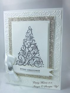 White Christmas... a bit more elegant than the other swirled tree card I have pinned.