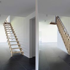 'Bcompact' Hybrid Stairs and Ladders award winning, PATENTED products are the first 2 in a series of designs that create a beautiful and simple solution to small space living or simply … Stair Ladder, Folding Ladder, Folding Attic Stairs, Small Space Living, Small Spaces, Small Space Stairs, Space Saving Staircase, Retractable Stairs, Product Design