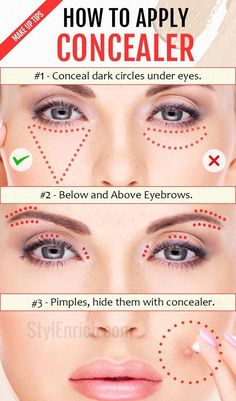 to Apply Concealer : Important Make Up Tips Just For You! How to Apply Concealer the correct way? Learn basic makeup tips and tricks for beginners.How to Apply Concealer the correct way? Learn basic makeup tips and tricks for beginners. Concealer For Dark Circles, Dark Circles Under Eyes, How To Apply Concealer, How To Apply Makeup, Applying Makeup, Concealer Diy, Make-up-tipps Und Tricks, Begginers Makeup, Make Up Guide