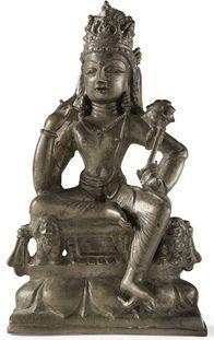 Avalokiteshvara Padmapani on lion throne 7th c., Swat Valley, Avalokiteshvara, bronze, 15 cm, private collection