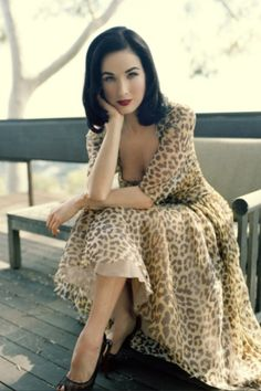 Who said that you can't pull off a leopard print maxi dress??? :: animal print:: bold fashion:: pin up style :: dita von teese