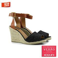 Calce impecável e combinação super fashion em Jeans e Couro #koquini #sapatilhas #euquero #anabela Compre Online: http://koqu.in/1NyYeyc