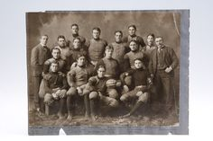 """1898 HARVARD FOOTBALL TEAM PHOTO. Stunning 9 3/4"""" by 13"""" photo of the undefeated and untied 1898 Harvard University football team. Player at center, identified as All-American B. H. Dibblee, holds a football with the score Harvard -17, Yale - 0 printed on the front. Awesome crystal clear image with incredible image detail. $284"""