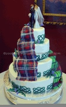 celtic wedding cake but with purple plaid? And a tardis?