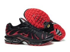 the latest e9082 3ec2c Chaussures de Nike Air Max Tn Requin Homme Noir et Rouge Des Tn