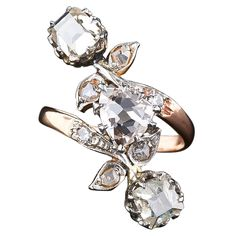 Antique Victorian Three-Stone Diamond Ring with 1.91 Carat Fancy Color Diamond | 1stdibs.com | $15,750