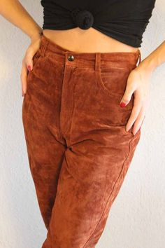 Vintage High Waisted Brown Leather Pants by vintagebelljar on Etsy, $25.00