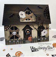 Halloween Pop Up Cards, Fall Halloween, Halloween Ideas, House Cards, Bee House, Honey Bee Stamps, Halloween Miniatures, Bee Cards, Making Cards
