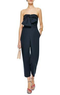 【MSGM】Bow-Detail Cotton-Poplin Jumpsuit $450