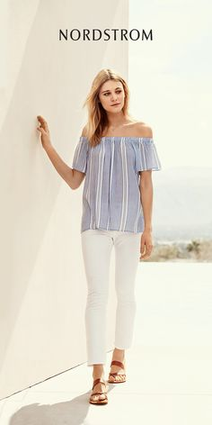 Show off pretty décolletage and sun-kissed skin in one of the season's hottest trends, an off-the-shoulder top. This short-sleeve version is cut from a soft woven fabric and comes in your choice of three fresh prints. Shop for the best summer vacation looks from Nordstrom.
