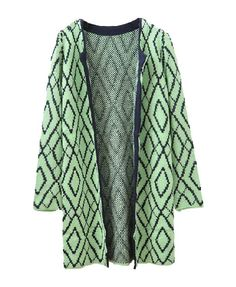 Longline Rhombus Cardigan with Open Front - Cardigans - Knitwear - Clothing