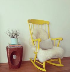 Schaukelstuhl Rocking Chair by LeFlair via DaWanda yellow - Rocking Armchair Upholstered Rocking Chairs, Painted Rocking Chairs, Rocking Chair Nursery, Rocking Chair Cushions, Bedroom Chair, Vintage Rocking Chair, Rocking Chair Makeover, Wooden Rocker, Cool Chairs