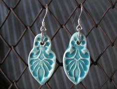 Ceramic Glazed Earrings. Fundraiser idea? Impress different things into clay, then fire, glaze and sell as earrings, pendants, etc.