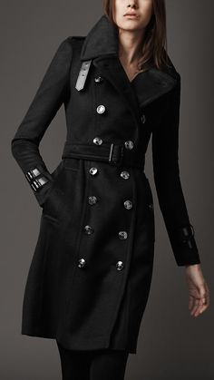 Regimental Wool Trenchcoat by Burberry. Gorgeous! If I only had $1,595.00 to spend on a coat ...