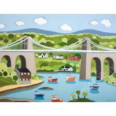 Janet Bell is a contemporary artist who has an Art Gallery and Home Store in Beaumaris on the Island of Anglesey. Water Under The Bridge, Bell Art, English Artists, Art Uk, Naive Art, Art For Art Sake, Landscape Art, Painted Rocks, Seaside