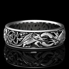 Sterling Silver Celtic Dragon Ring, Womens Wedding Band, Mens Wedding Band, Dragon Jewelry, Celtic Knot Ring, Custom Size 1380