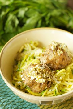 Crockpot Herbed Turkey Meatballs with Zucchini, Ricotta and Pesto