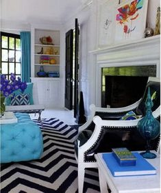 living rooms - turquoise black and white chevron rug blue  Jonathan Adler