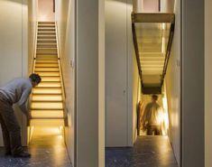Hidden stairs to basement