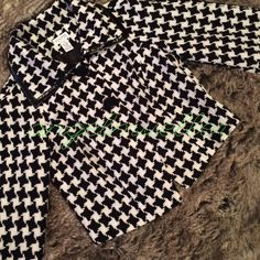 "Houndstooth print cape style jacket This beautiful jacket is cape style, large houndstooth print, two button closure, faux leather trim. Length: 22"", bust: 20"", sleeve length: 19"", perfect condition. Jackets & Coats Capes"