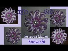 DIY/MK/How to/Kanzashi ribbon flower/Flor de cinta/Цветы из лент/канзаши: bricoart.kam - YouTube