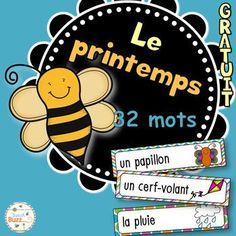 FREE French vocabulary cards pour le printemps