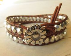 Silver Double Wrap Bracelet ~ Rustic Country Chic Jewelry ~ Beaded Boho Bohemian Daisy Sunflower Button Country Cowgirl Gift