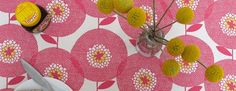 Flower Field Rosy as it looks as a table cloth (swedishfabric) Textile Pattern Design, Surface Pattern Design, Textile Patterns, Print Patterns, Textiles, Color Theory, Pink And Gold, Beautiful Flowers, Diy Crafts