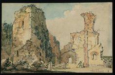 Girtin. The ruins of Middleham castle.