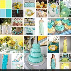 aqua, mint, and yellow wedding..... I think I like