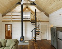 Winter Cabin - Rustic family room with exposed wood - Spiral staircase to loft - Could see this as the inspiration for a small house Mezzanine Loft, Loft Stairs, Loft Railing, Attic Loft, Ladder To Loft, Stairs To Attic, Small Space Staircase, Loft Ladders, Upstairs Loft