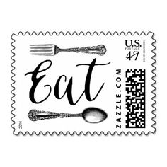 Vintage Cutlery Illustration Eat Typography Stamp @zazzle #junkydotcom June 9 2016 2x