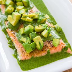 Armed with this easy technique for slow poaching a salmon fillet in the oven, along with a vibrant salsa verde, loaded with cilantro, parsley and avocado, this is a weeknight meal that's dinner-party ready.