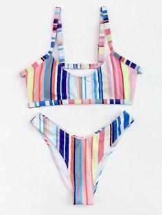 906d426f98622 Shop Roman Striped Cut Out Back Bikini Set online. SheIn offers Roman  Striped Cut Out Back Bikini Set   more to fit your fashionable needs.